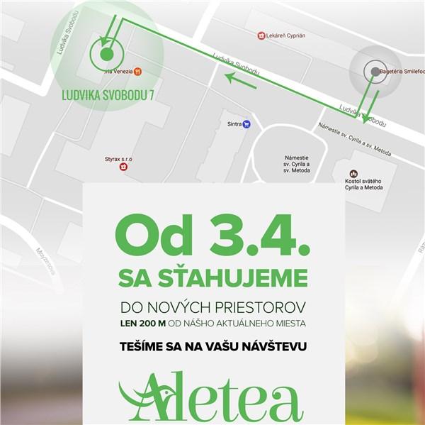 Kníhkupectvo Aletea nájdete od 3. apríla v nových priestoroch